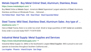search engine results page for a manufacturing website