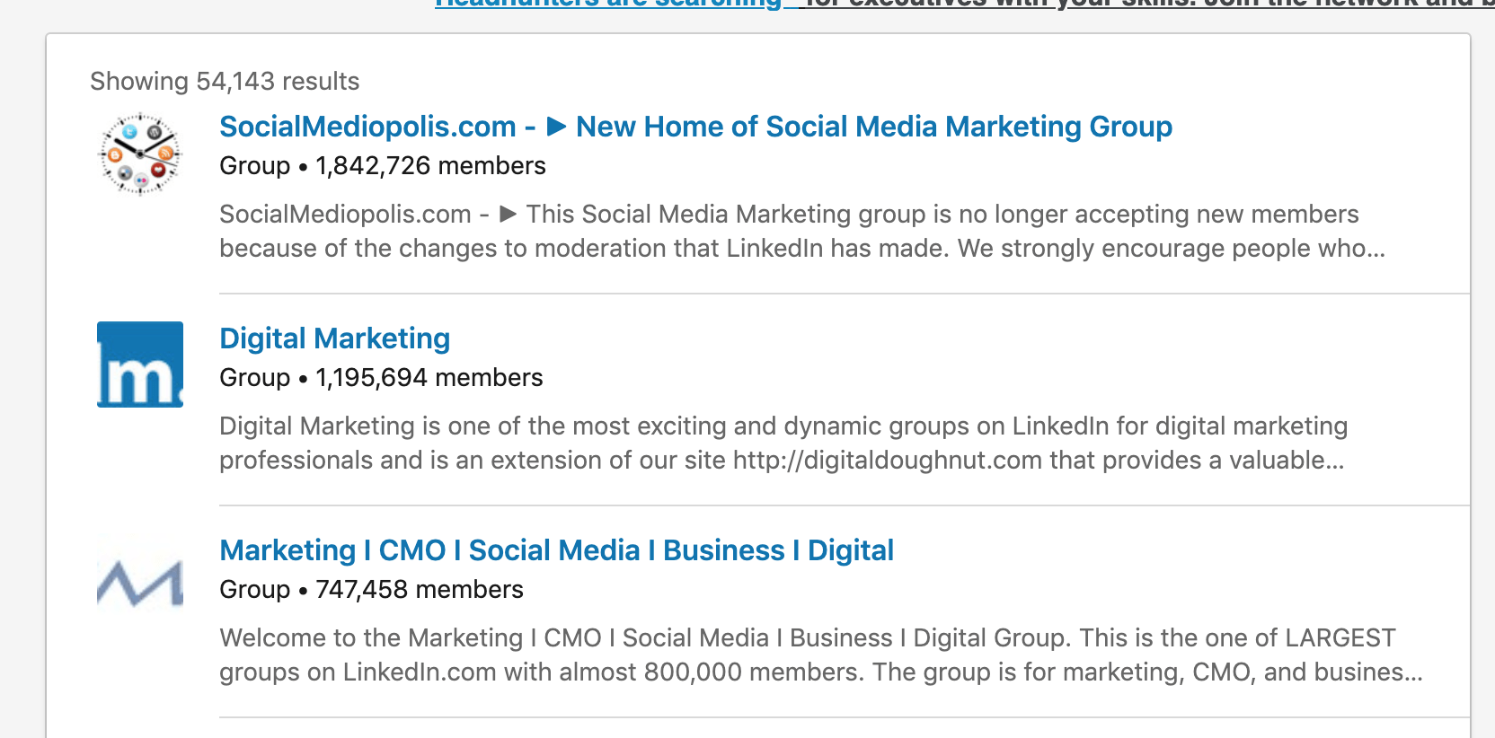 joining an industry related group on linkedin