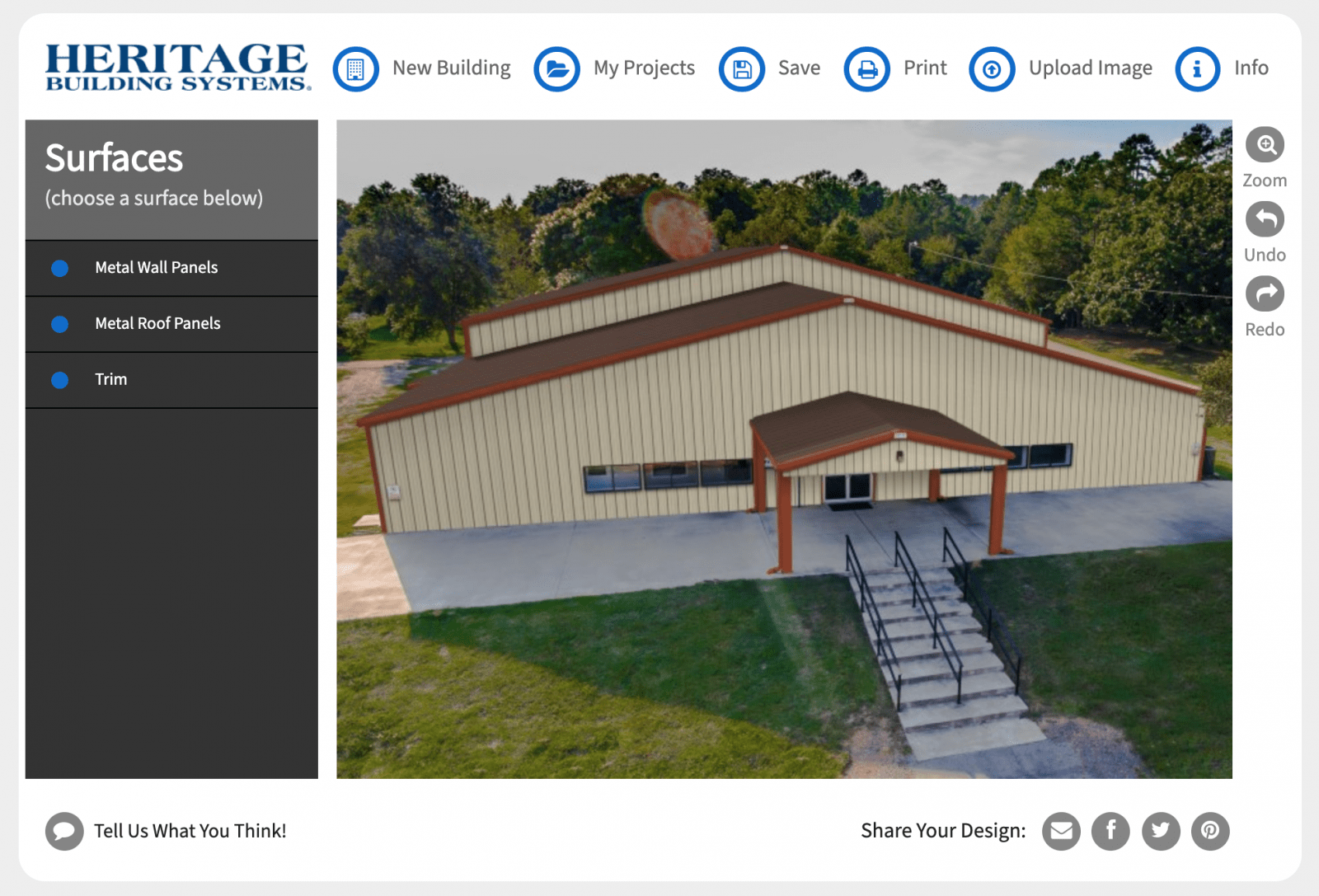 Heritage Building Systems metal building color visualizer