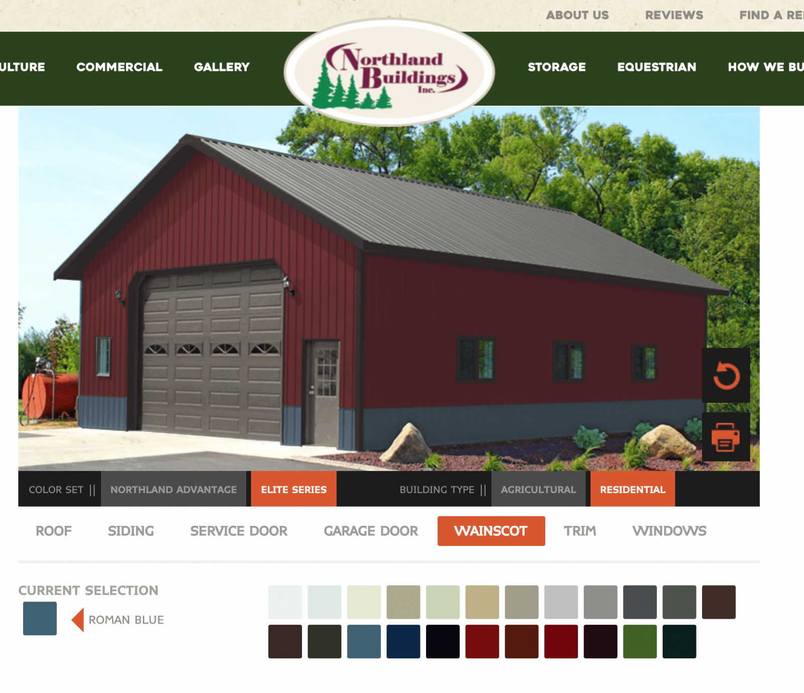 Northland Buildings post frame color visualizer