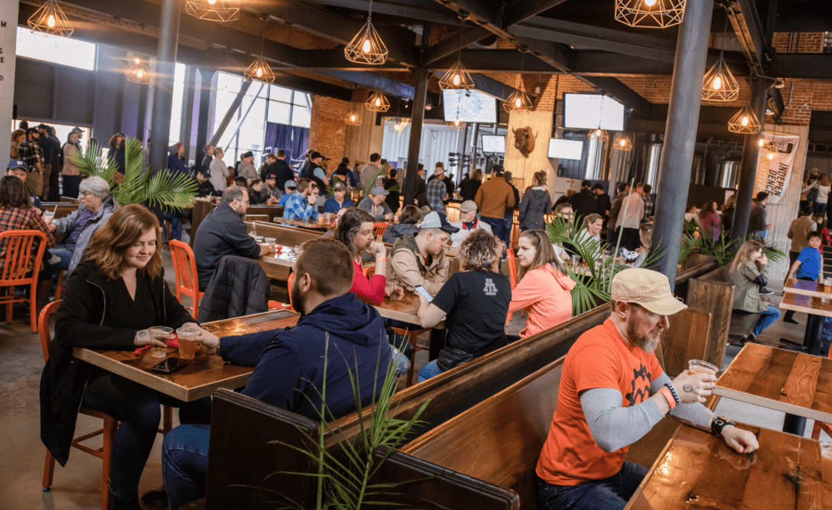 the Brewing Projekt brewery interior in Eau Claire