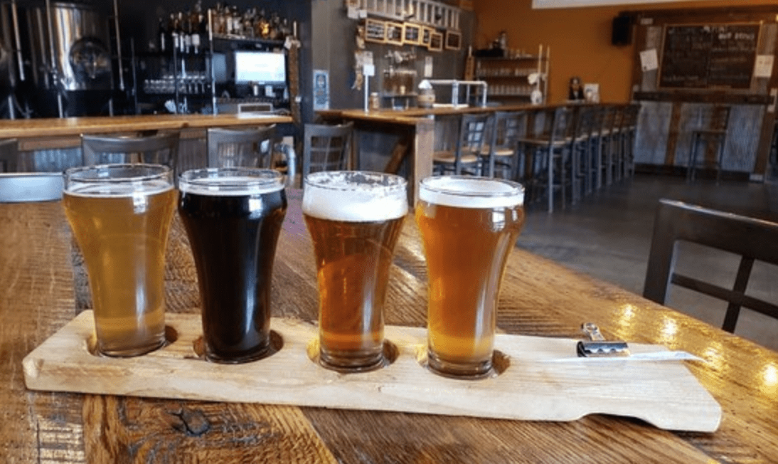 a flight of beers from k point brewery
